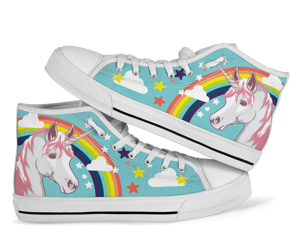 Unicorn Shoes - Kids White High Top