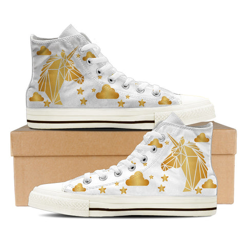 Gold Unicorn White - Women's High Tops