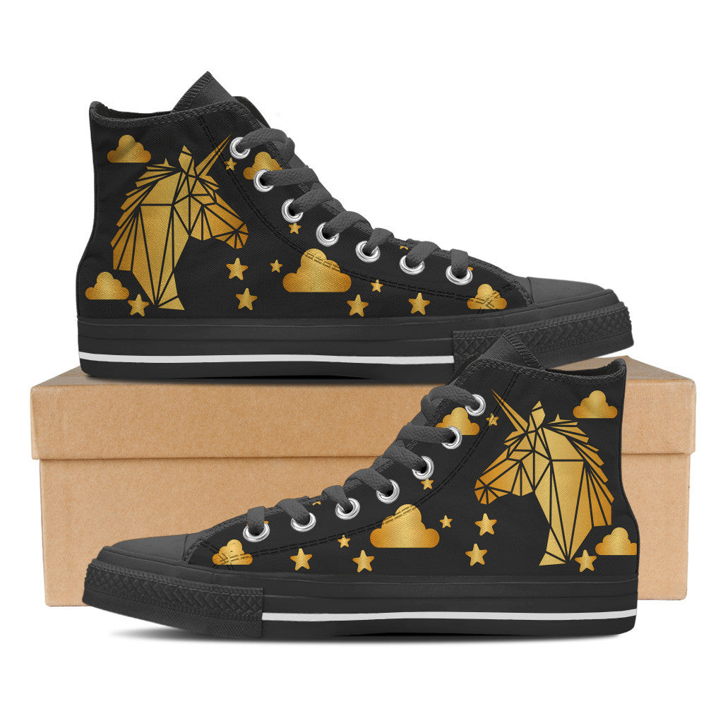 Gold Unicorn Black - Women's High Tops