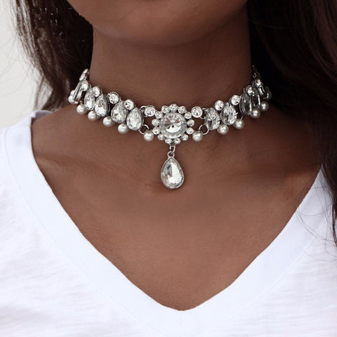 Choker Water Drop Crystal and Pearl Necklace