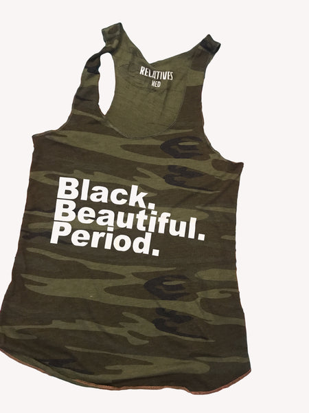 Black Beautiful Period Camo tank