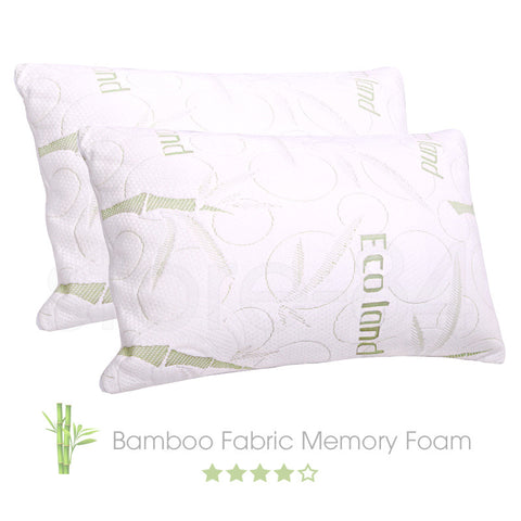 2 x Bamboo Fabric Memory Foam Pillows - Store 84