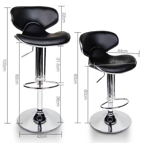 2 x Black PU Leather Bar Stool