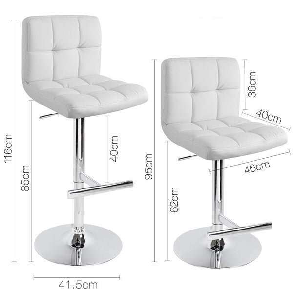 2 x White PU Leather Bar Stool