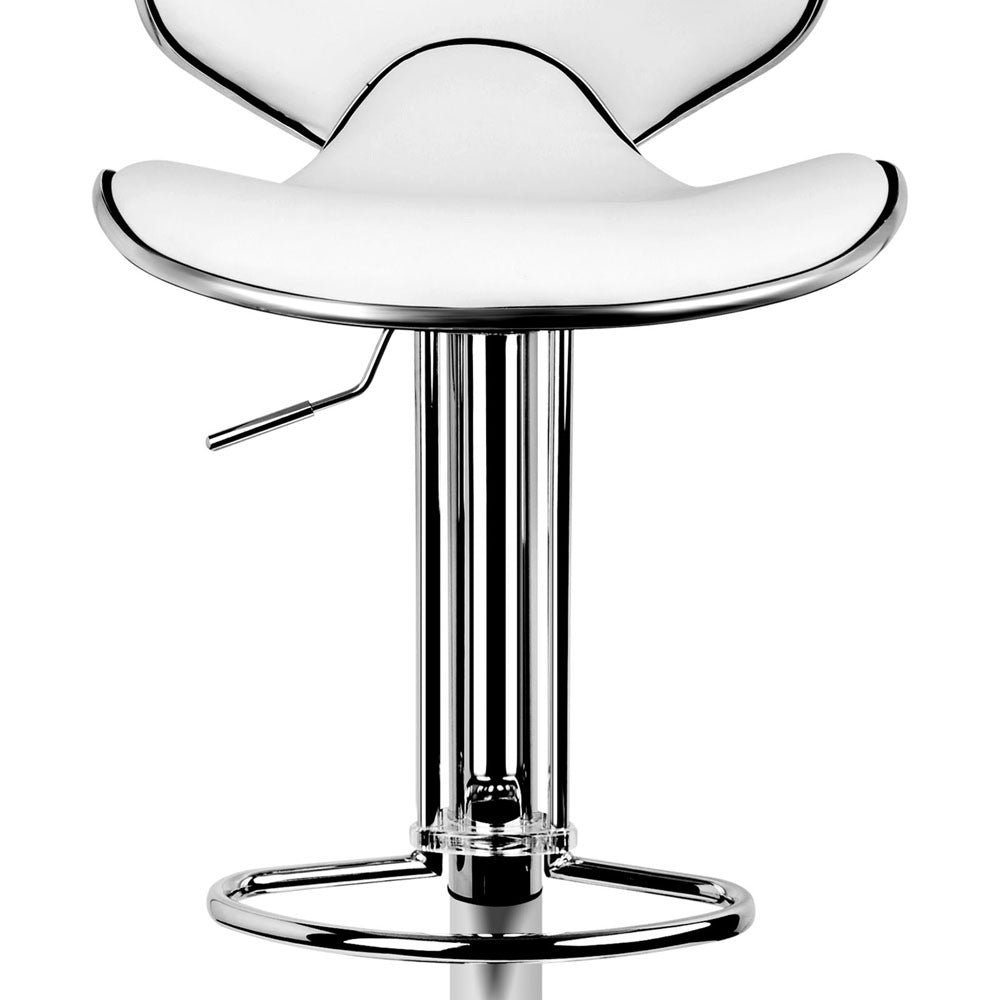 Woven Bar Stools White Leather And Chrome Set Of 2 Furmax
