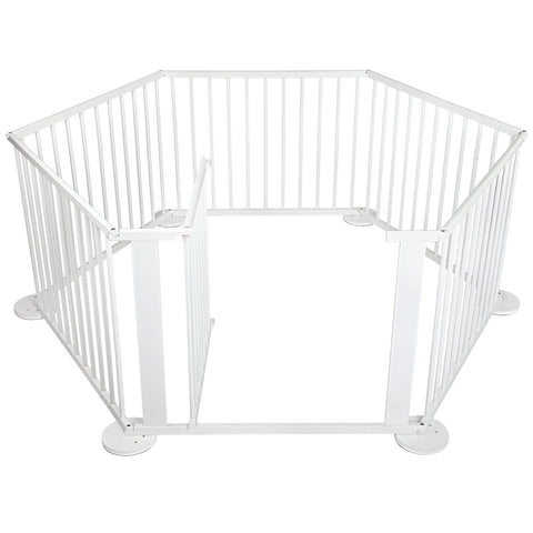 White Wooden 6 Panel Playpen - Store 84