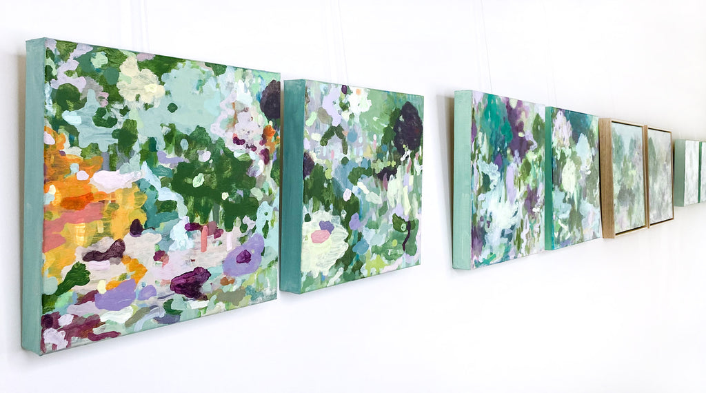 original abstract landscape paintings on canvas hanging on gallery wall new collection