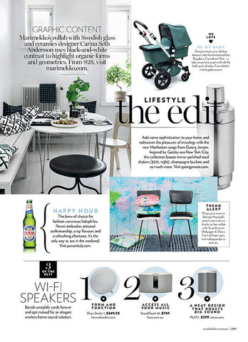 Marie Claire magazine april 2017. Featuring Belinda Marshall x Scandinavian Wallpaper and Decor wallpaper mural.