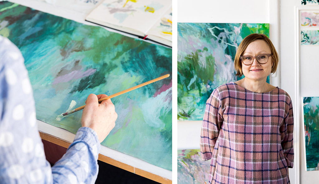 Image of abstract artist Belinda Marshall in the studio working and portrait photo