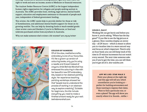 embroidery kits by belinda marshall featured in slow magazine