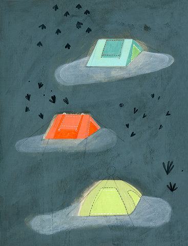 3 tents acrylic on wood 12 x 9in / 30.3 x 22.9cm 2010