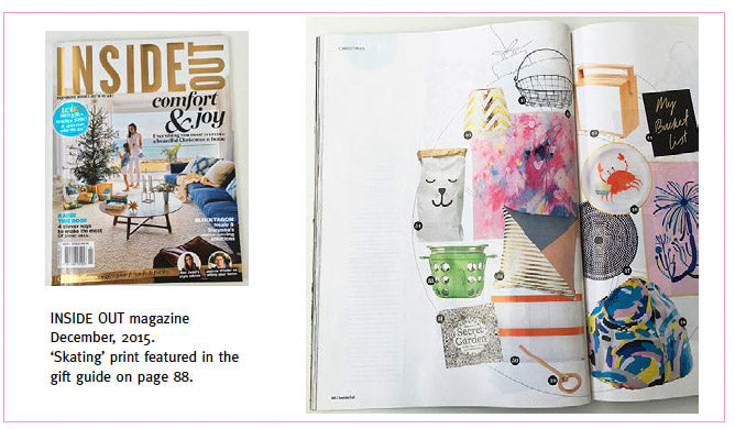 Inside Out magazine Dec 2015. 'Skating' print featured in the gift guide.