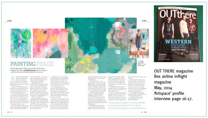 Out There magazine interview feature, May 2014 in the 'Artspace' profile section.