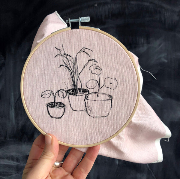 digitally printed sketch on cotton linen fabric 2 potted plants belinda marshall