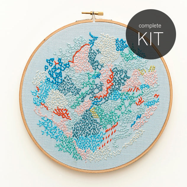 embroidery kit ~ 'Small world 2' ~ BLUE background