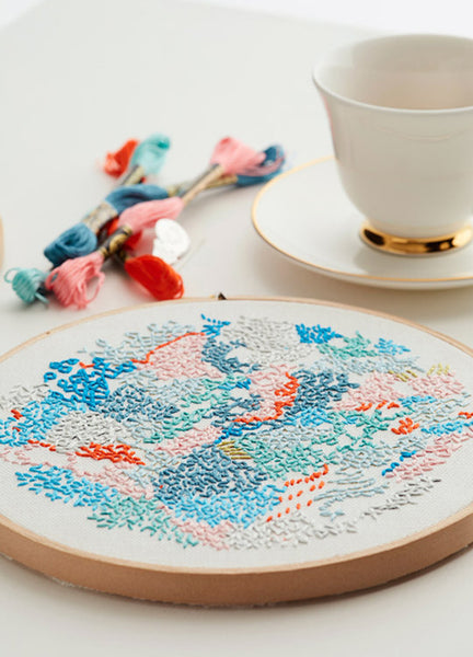 diy embroidery kit abstract wall art with tea by belinda marshall