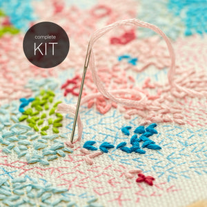 DIY embroidery kit ~ 'Small world' ~ WHITE background