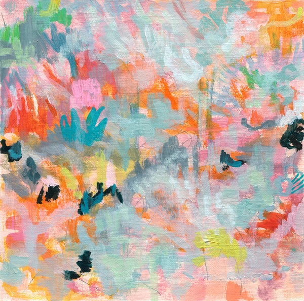 abstract landscape painting on paper neon pink orange red pastel grey green yellow yellow blackbelinda marshall