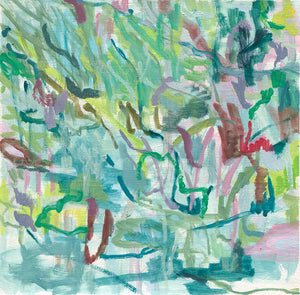 abstract landscape painting on paper blue green lime grey red purple olive belinda marshall