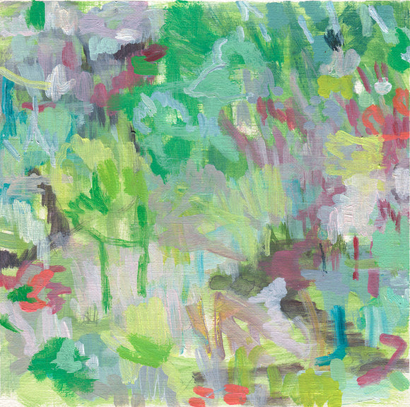 abstract landscape painting on paper green pink blush grey purple red belinda marshall