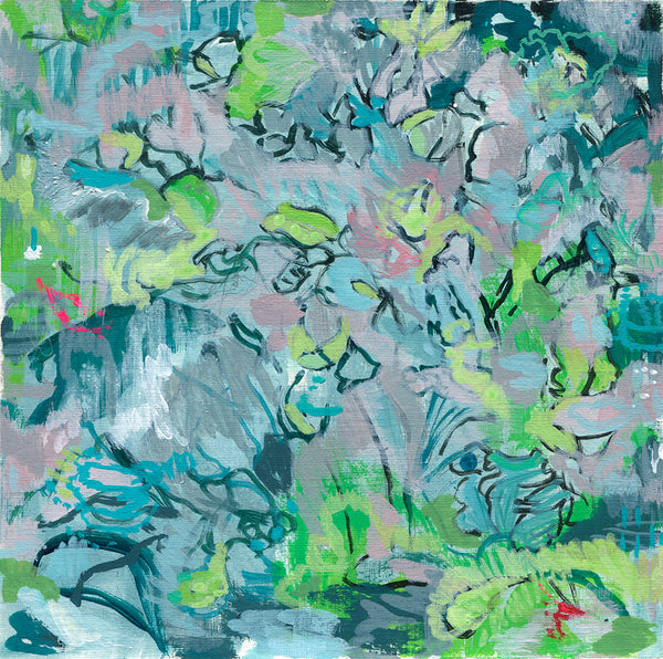abstract landscape painting on paper black green pink purple blush teal aqua lime grey belinda marshall