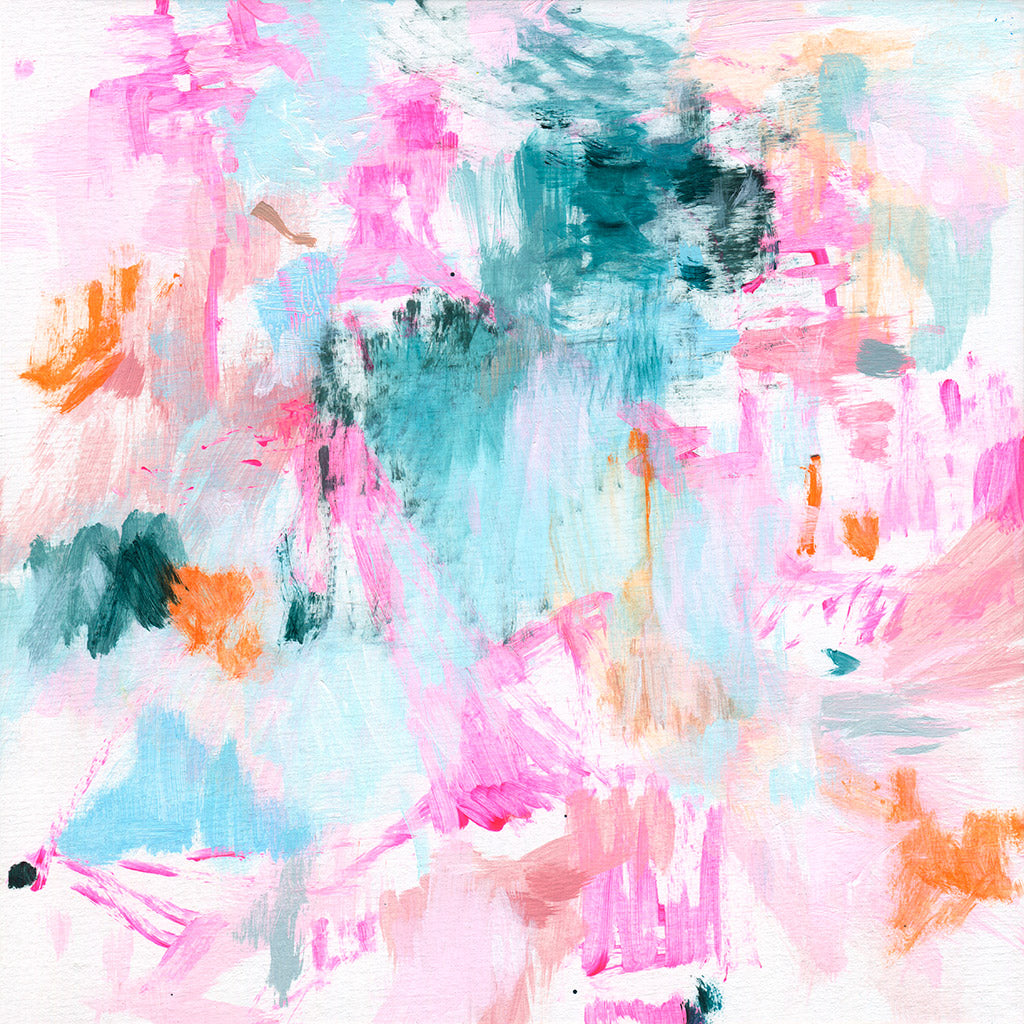 abstract art painting neon pink bright blue square format belinda marshall