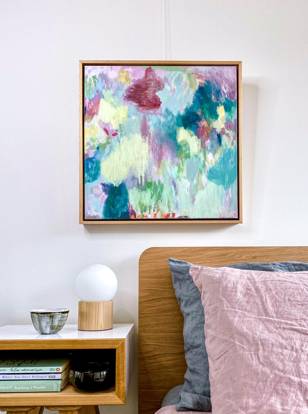 Original abstract landscape painting acrylic on canvas professionally framed hanging above the bed in situ available to purchase