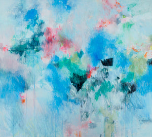 art print abstract expressionist pastel bright blue pink belinda marshall