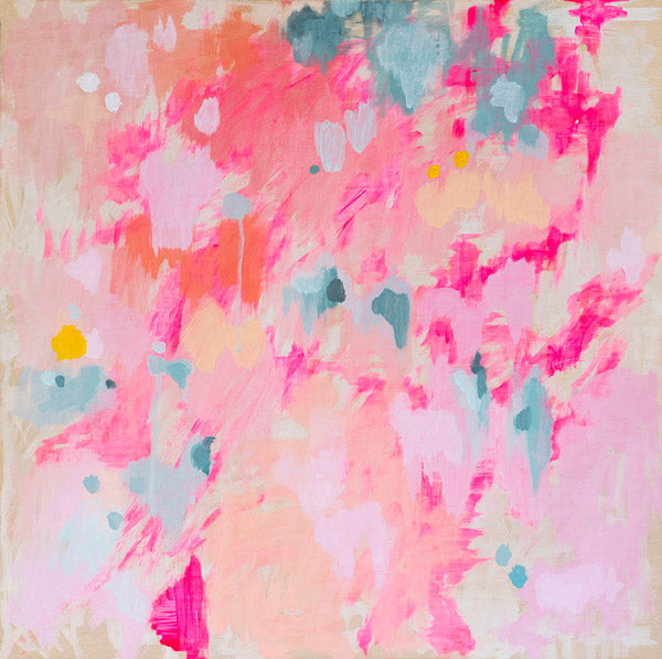 sale abstract art print pink blue grey yellow belinda marshall
