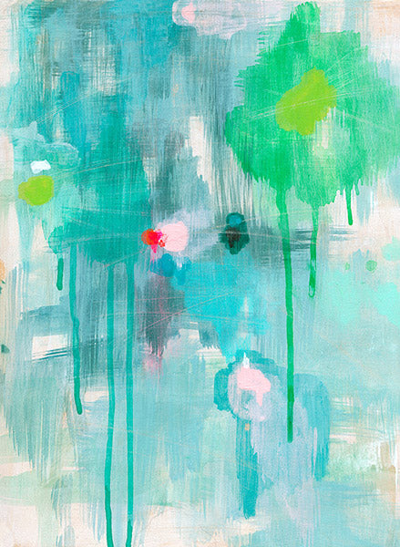 sale abstract art print drips lime pink blue green belinda marshall