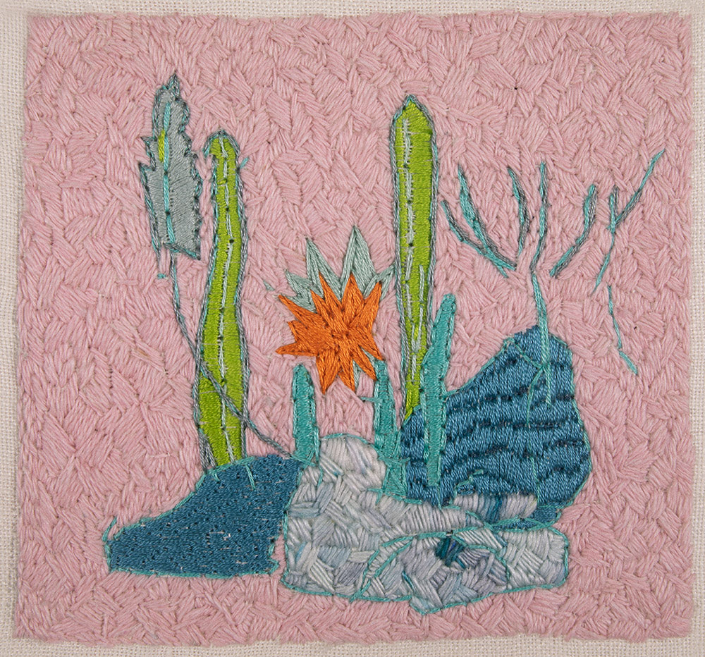 original embroidery artwork belinda marshall pink cactus landscape plants flowers orange blue