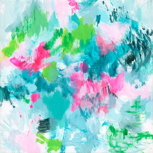 abstract painting original work contemporary blue green pink neon belinda marshall
