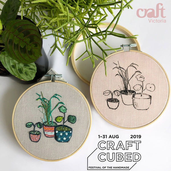 embroidery workshop craft cubed craft victoria Belinda marshall sketch stitch plants leaves