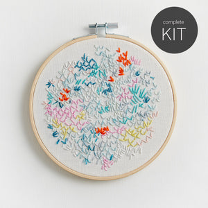 embroidery kit DIY pattern abstract with pink background