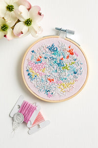 Embroidery kit: 'rose' PINK background
