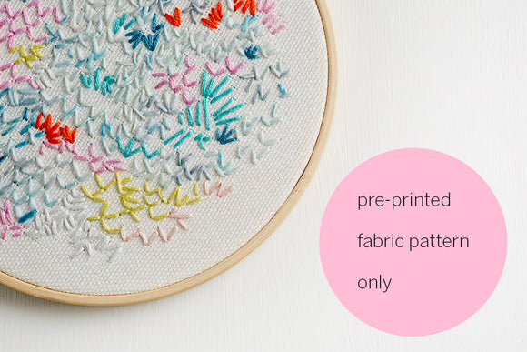 embroidery pattern pre printed fabric abstract design white