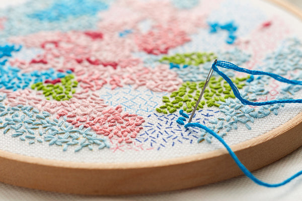 printed fabric embroidery pattern ~ 'Small world' ~ BLUE background
