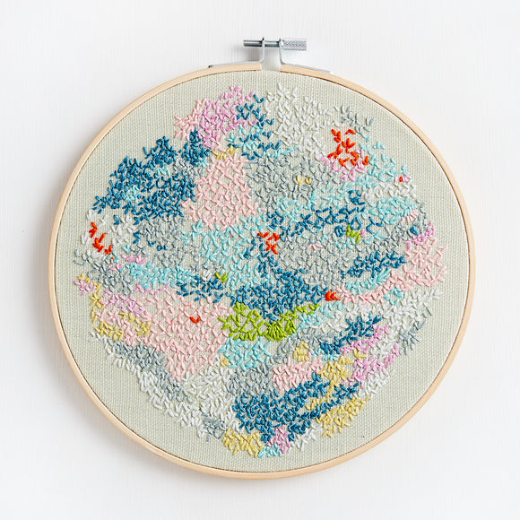 Embroidery  artwork ~ 'Snowy Lake' ~ Green