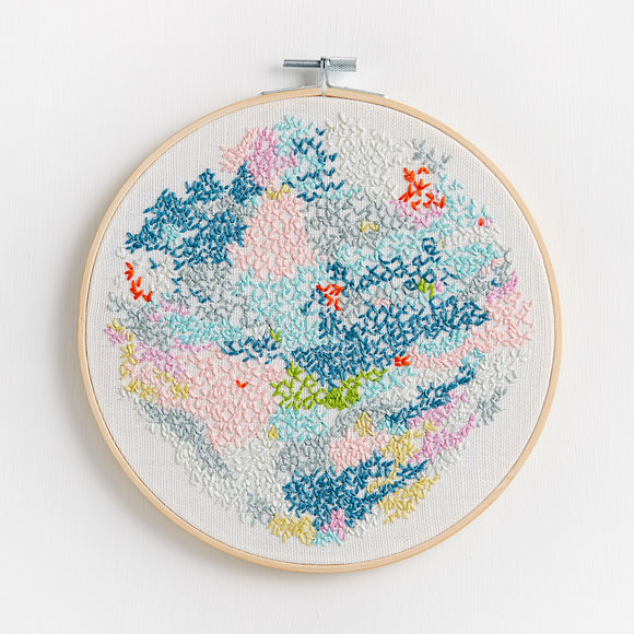 Embroidery artwork ~ 'Snowy Lake'