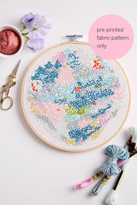 pre-printed fabric embroidery pattern ~ 'Snowy Lake' ~ WHITE background
