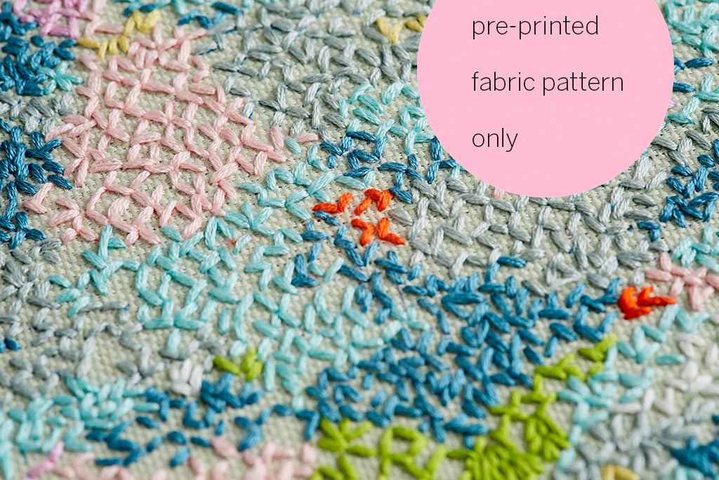 pre-printed fabric embroidery pattern ~ 'Snowy Lake' ~ GREEN background