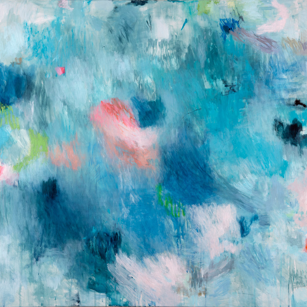 art print abstract expressionist pastel blue belinda marshall