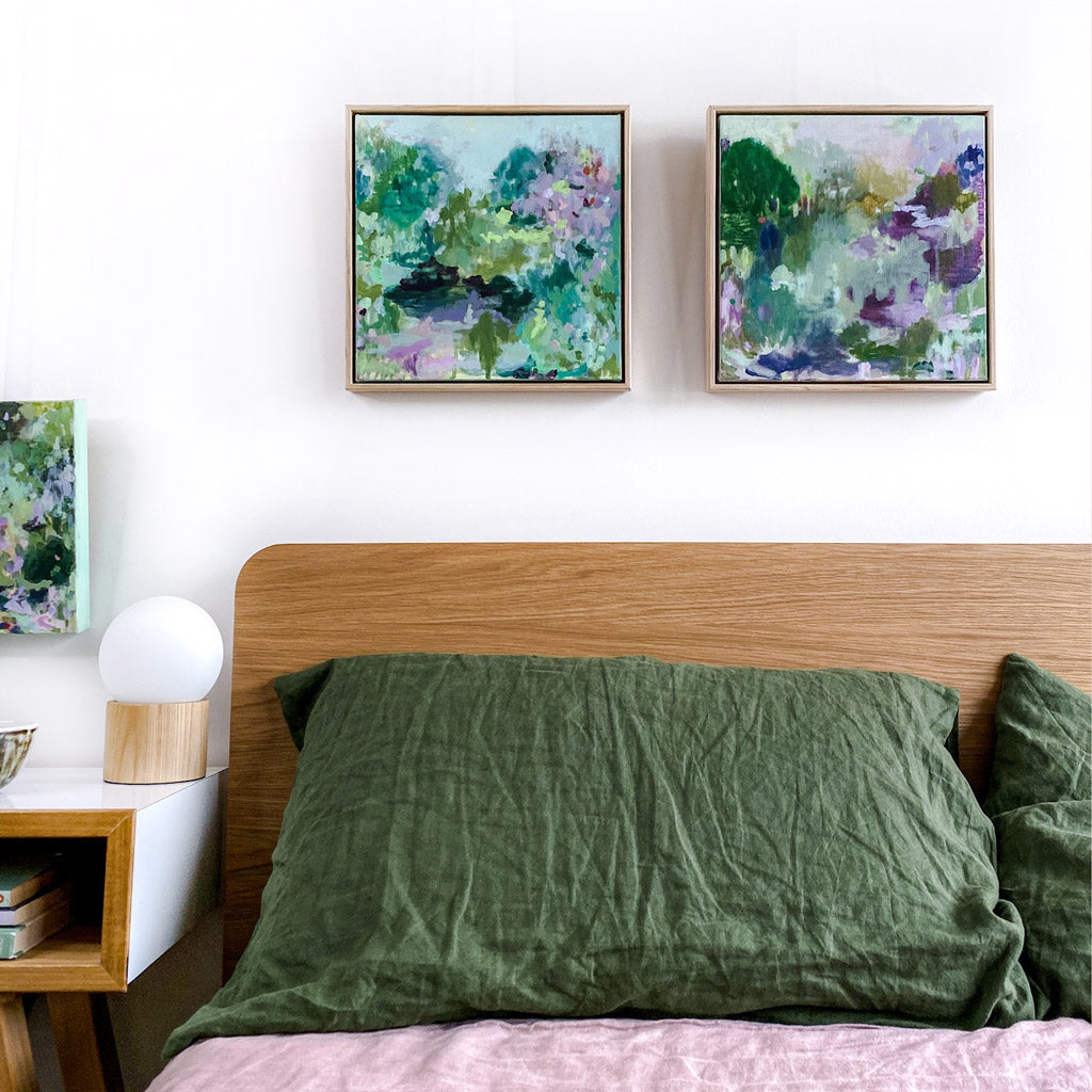 abstract landscape painting original artwork styled above bed in bedroom in group in situ acrylic on canvas square format sage purple mustard green lime olive pastel palette belinda marshall