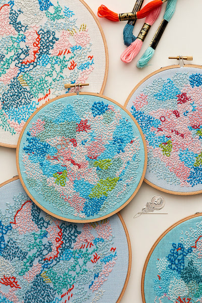 DIY embroidery kit ~ 'Small world' ~ BLUE background