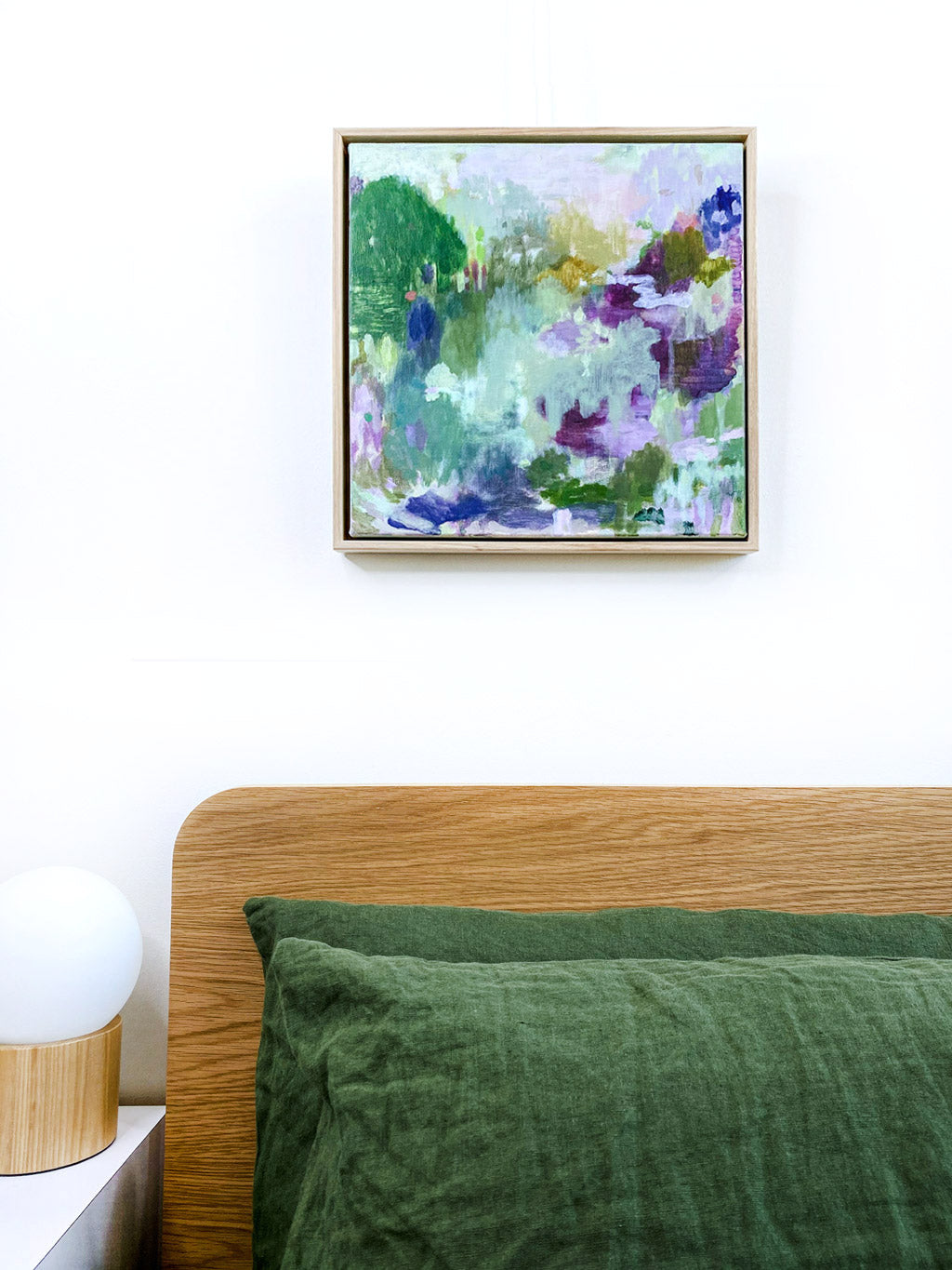 abstract landscape painting original artwork styled above bed in bedroom in situ acrylic on canvas square format sage purple mustard green lime olive pastel palette belinda marshall