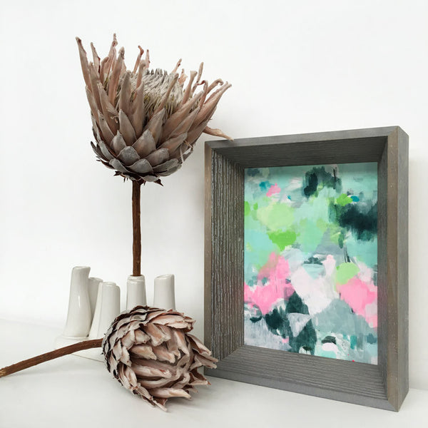 original contemporary abstract painting small work framed in situ by belinda marshall