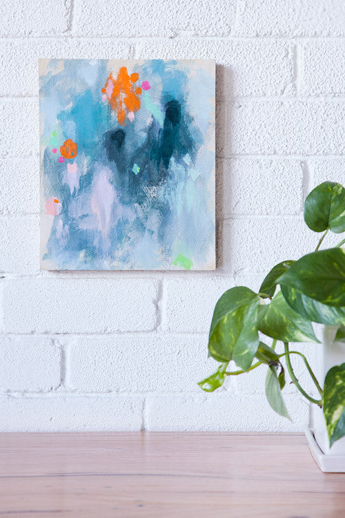 original contemporary abstract painting small work blue in situ by belinda marshall