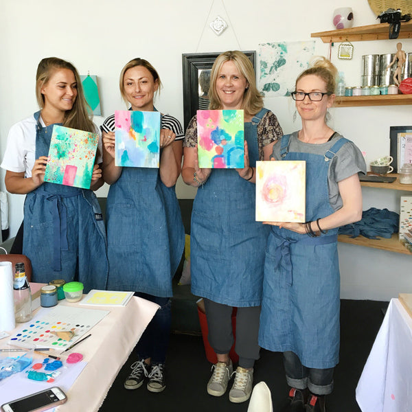 abstract painting workshop for beginners melbourne belindamarshall participants holding work