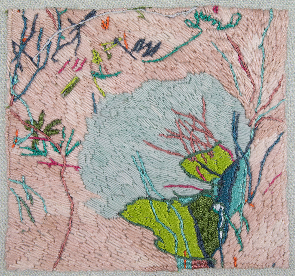 original embroidery artwork belinda marshall pink abstract landscape plants flowers green  blue