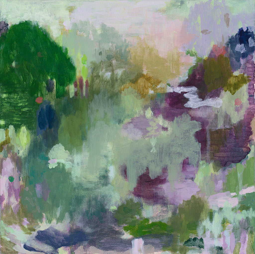 abstract landscape painting original artwork acrylic on canvas square format sage purple mustard green lime olive pastel palette belinda marshall